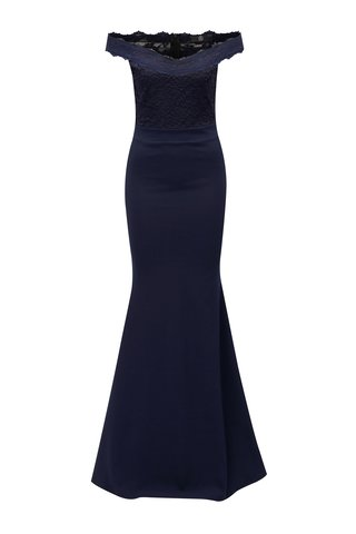 Rochie albastru inchis maxi cu decolteu pe umeri si insertie din dantela la spate in partea de jos MISSGUIDED