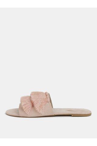 Papuci roz deschis cu aspect piele intoarsa si franjuri MISSGUIDED
