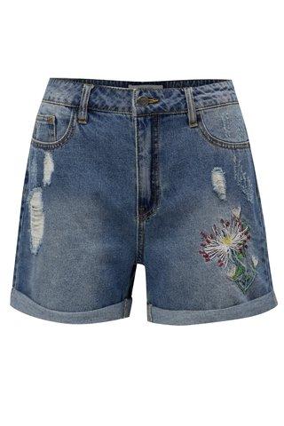 Pantaloni albastri scurti din denim cu talie inalta si broderie Jacqueline de Yong Caresa