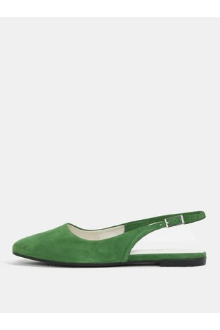 Balerini de dama verde din piele intoarsa cu decupaj pe calcai Vagabond Ayden
