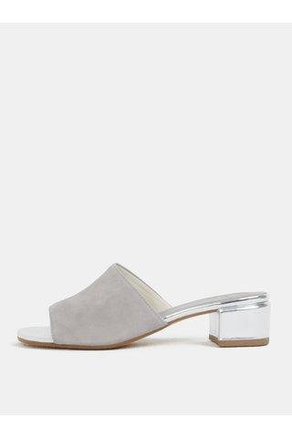 Šedé dámské semišové pantofle na podpatku Vagabond Aisha