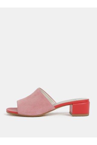 Červeno-růžové dámské semišové pantofle na podpatku Vagabond Aisha