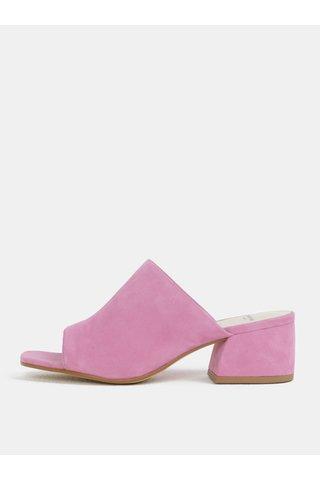 Saboti de dama roz din piele intoarsa Vagabond Saide