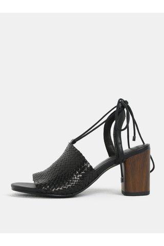 Sandale de dama negri din piele naturala cu toc Vagabond Carol