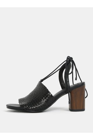 Černé dámské kožené sandálky na podpatku Vagabond Carol