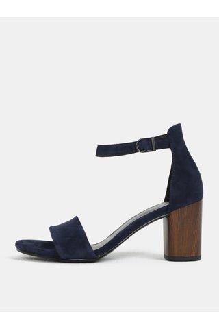 Sandale albastru inchis de dama din piele intoarsa cu toc Vagabond Carol