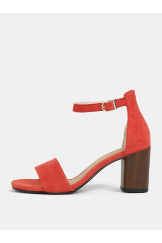 Sandale de dama rosie din piele intoarsa cu toc Vagabond Carol