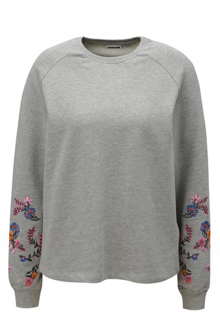Bluza sport gri cu broderie florala pe maneci Noisy May Taddi