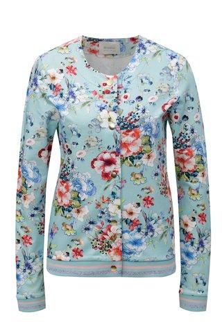 Jacheta bomber albastru deschis din textil cu model floral Rich & Royal