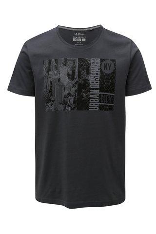 Tmavě šedé pánské tričko s potiskem s.Oliver