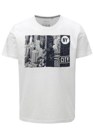 Bílé pánské tričko s potiskem s.Oliver