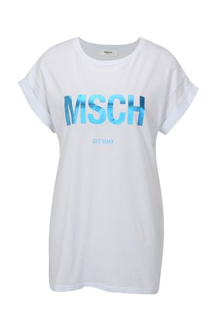 Tricou alb cu print albastru Moss Copenhagen Alva