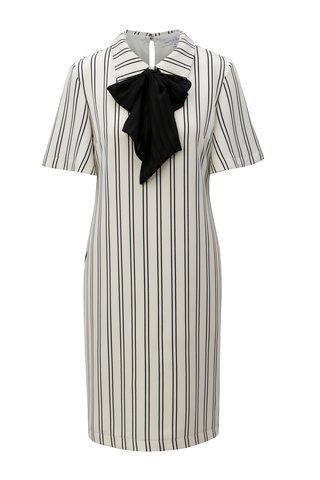 Bílé pruhované šaty s mašlí THAÏS & STRÖE