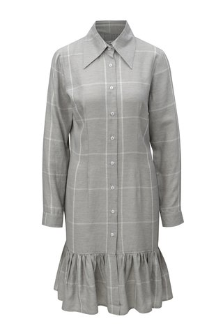 Šedé kostkované košilové lněné šaty THAÏS & STRÖE