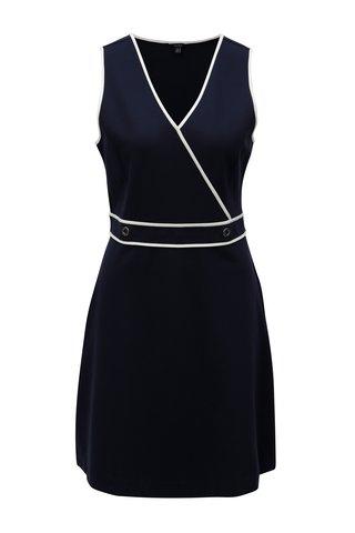 Rochie albastru inchis cu decolteu suprapus Nautica Flaux