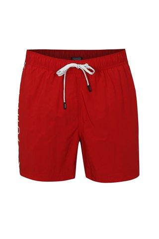 Červené pánské plavky s potiskem Tommy Hilfiger