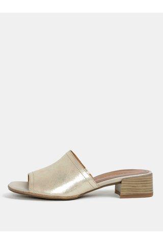 Papuci aurii din piele naturala cu toc Tamaris
