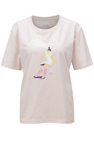 Tricou de dama roz deschis cu print ZOOT Stay wild