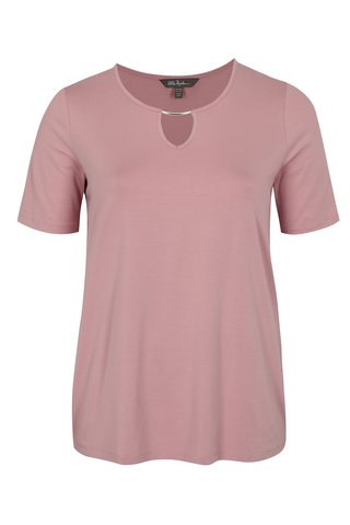 Tricou roz prafuit cu decupaj Ulla Popken