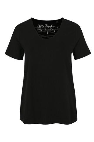 Tricou negru cu barete pe decolteu Ulla Popken