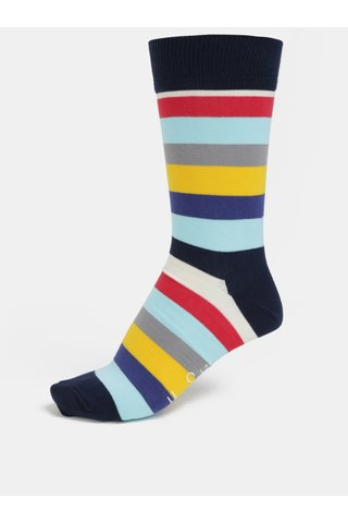 Sosete gri-albastru unisex in dungi Happy Socks Stripe