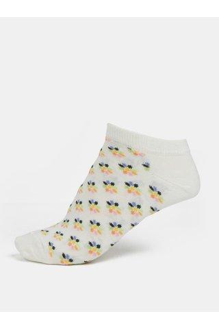 Sosete de dama crem scurte cu model floral Happy Socks Mini Flower
