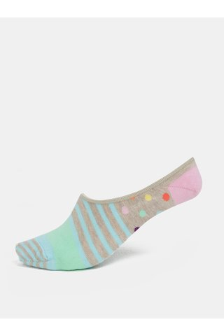 Sosete de dama albastru-maro scurte Happy Socks Stripes & Dots Liner
