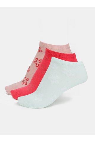 Sada tří párů holčičích ponožek v mentolové a růžové barvě name it Janik