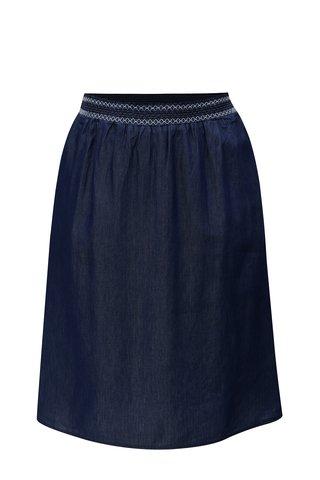 Fusta albastru inchis cu banda elastica in talie Ulla Popken