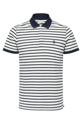 Tricou polo albastru-alb in dungi Selected Homme