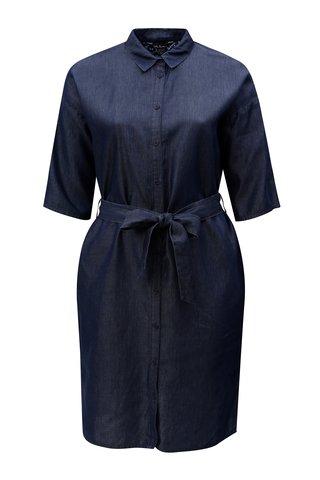 Rochie tunica midi albastru inchis din denim cu snur in talie Ulla Popken