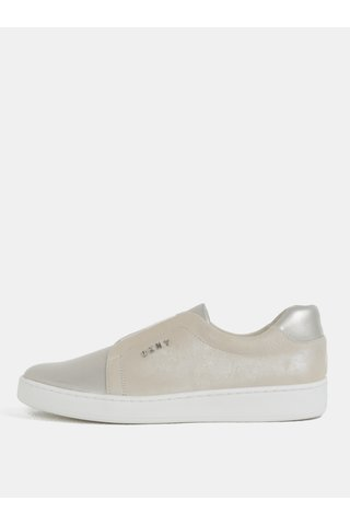 Pantofi slip-on bej din piele naturala DKNY