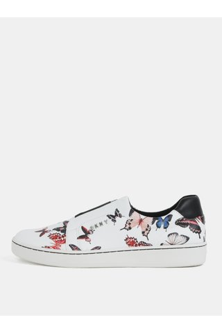 Pantofi slip-on albi din piele naturala cu model DKNY