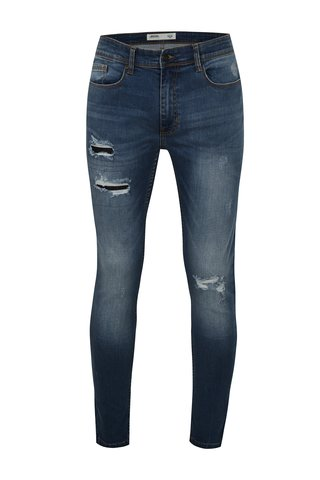 Modré super skinny džíny s potrhaným efektem Burton Menswear London