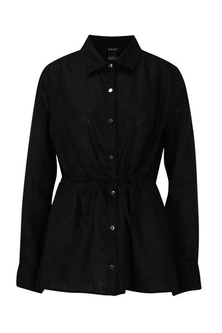 Camasa neagra din in cu maneci lungi DKNY