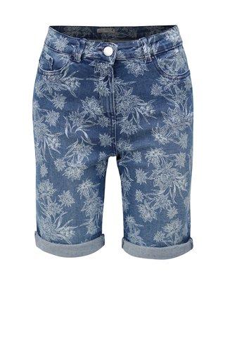 Modré dámské džínové květované kraťasy M&Co