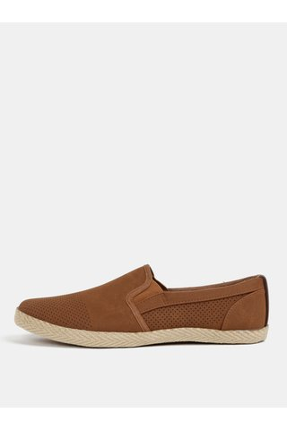 Hnědé perforované slip on Burton Menswear London