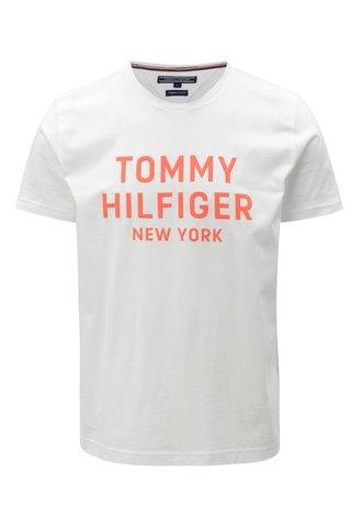 Oranžovo-bílé pánské tričko s potiskem Tommy Hilfiger