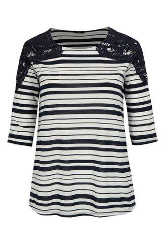 Modro-bílé pruhované tričko s 3/4 rukávem M&Co