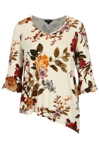 Tricou crem cu model floral si maneci 3/4 Dorothy Perkins Curve