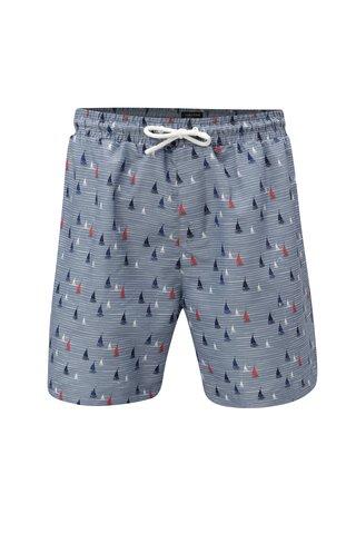 Pantaloni scurti de baie barbatesti gri cu model de barci cu vele M&Co Pantaloni scurti de baie barbatesti gri cu model de barci cu vele M&Co
