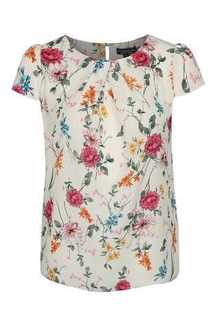Bluza alba cu model floral Dorothy Perkins Curve