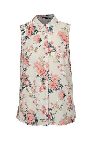 Bluza crem fara maneci cu model floral Dorothy Perkins Curve