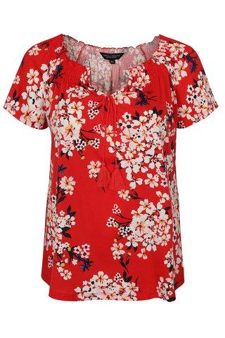 Tricou rosu cu model floral si maneci scurte Dorothy Perkins Curve