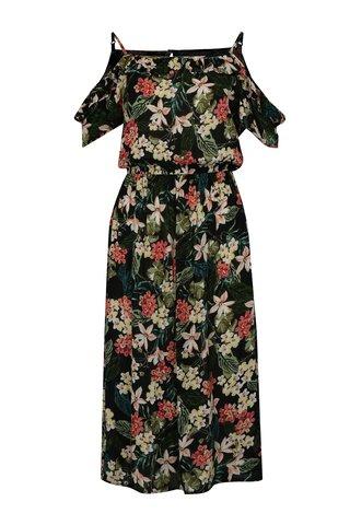 Rochie midi negru-verde cu decolteu pe umeri Dorothy Perkins Tall