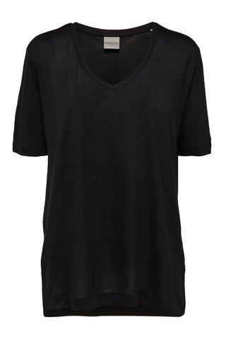 Tricou negru cu decolteu in V Selected Femme Lyro