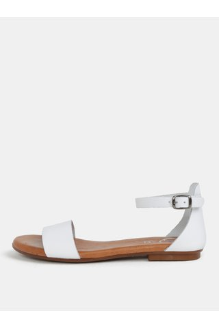Sandale albi din piele naturala OJJU