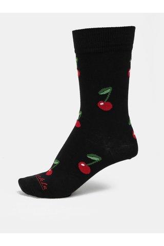 Červeno-černé unisex vzorované ponožky Fusakle Čerešně v noci