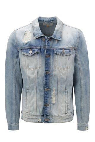 Jacheta albastru deschis din denim cu aspect usat Blend