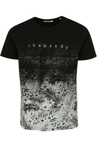 Tricou alb-negru cu model floral si print Lindbergh